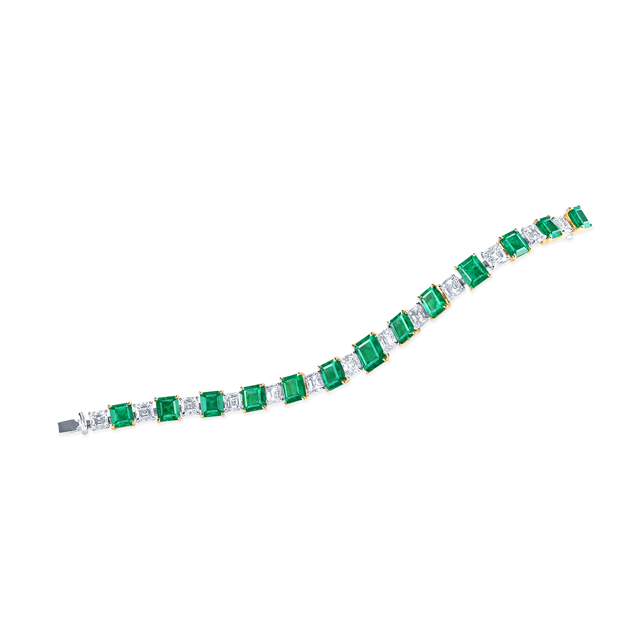 哥倫比亞天然艷彩祖母綠鑽石手鍊