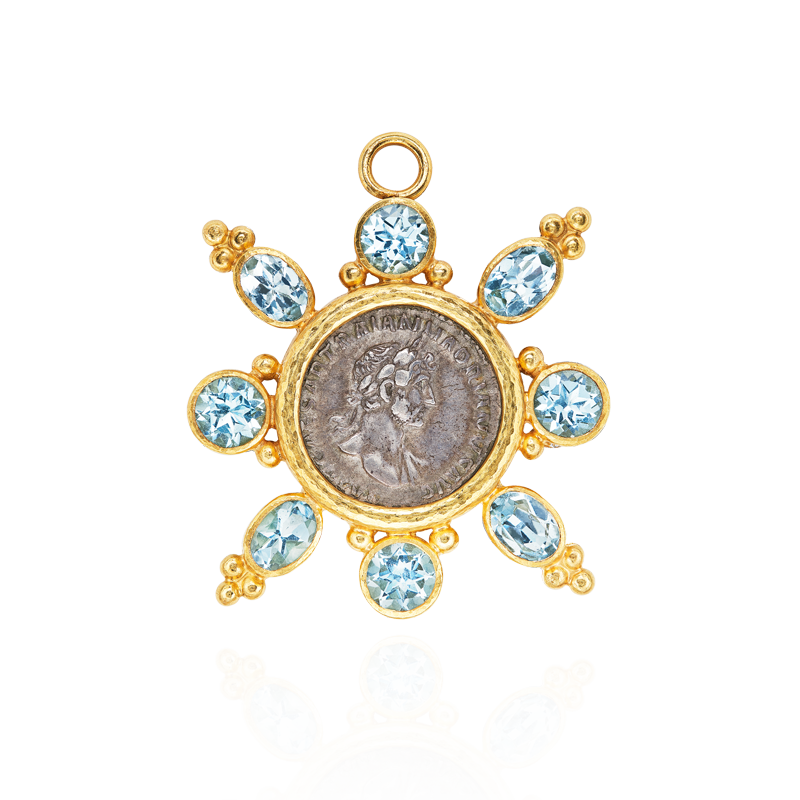古羅馬時期銀幣海水藍寶胸針