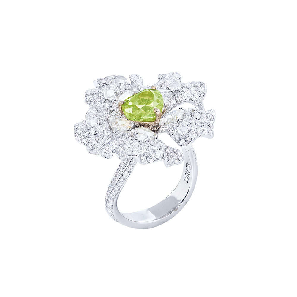 2.02克拉 GIA 濃彩黃綠鑽戒