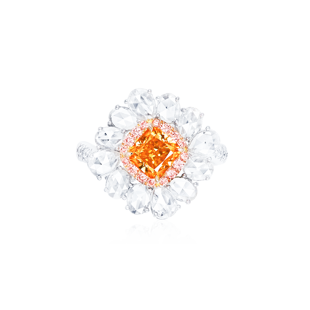 GIA 艷彩黃橘鑽鑽戒 1.13克拉