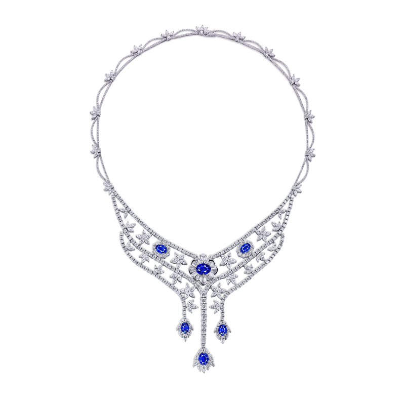 GRS 天然無燒藍寶鑽石套鍊 9.42克拉
