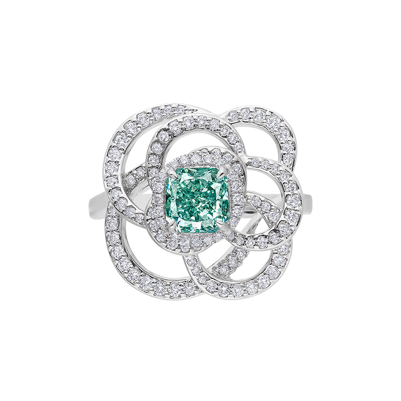 GIA 濃彩藍綠彩鑽鑽石戒 1.01 克拉