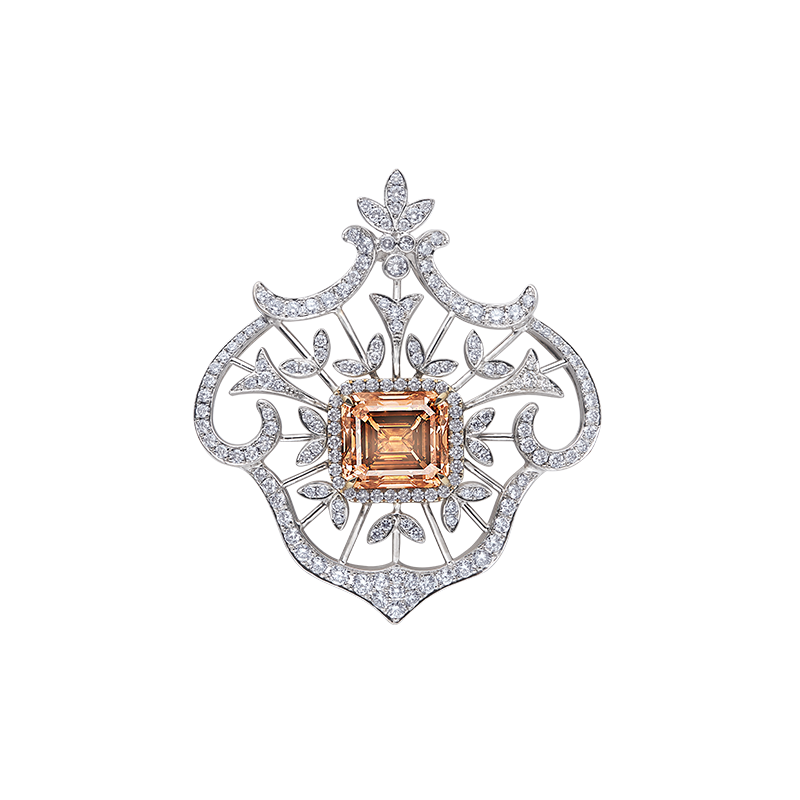 EGL GIA 橘棕彩鑽鑽石掛墜 5.02克拉