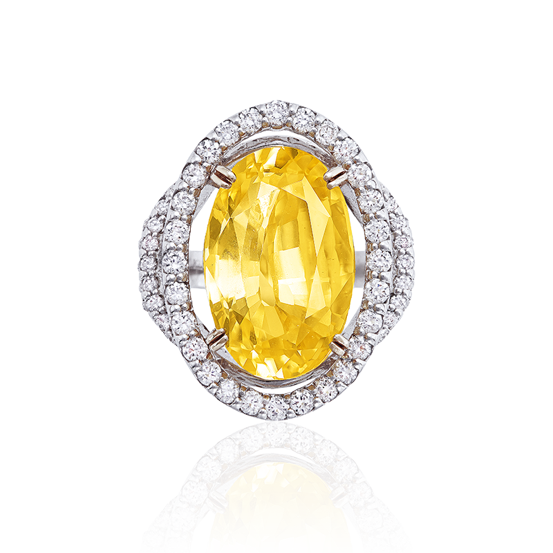 CGL 天然無燒黃寶鑽石戒 18.93克拉