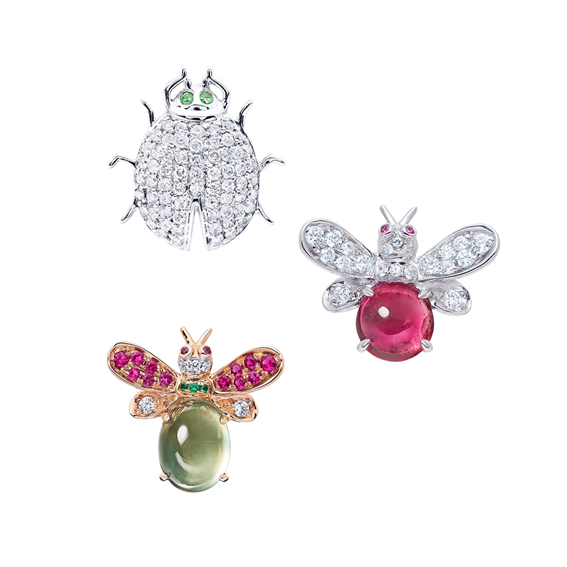 昆蟲彩鑽設計胸針組