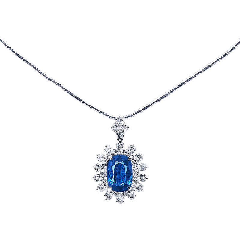 GRS 皇家藍藍寶鑽石墜鍊(H) 9.04克拉