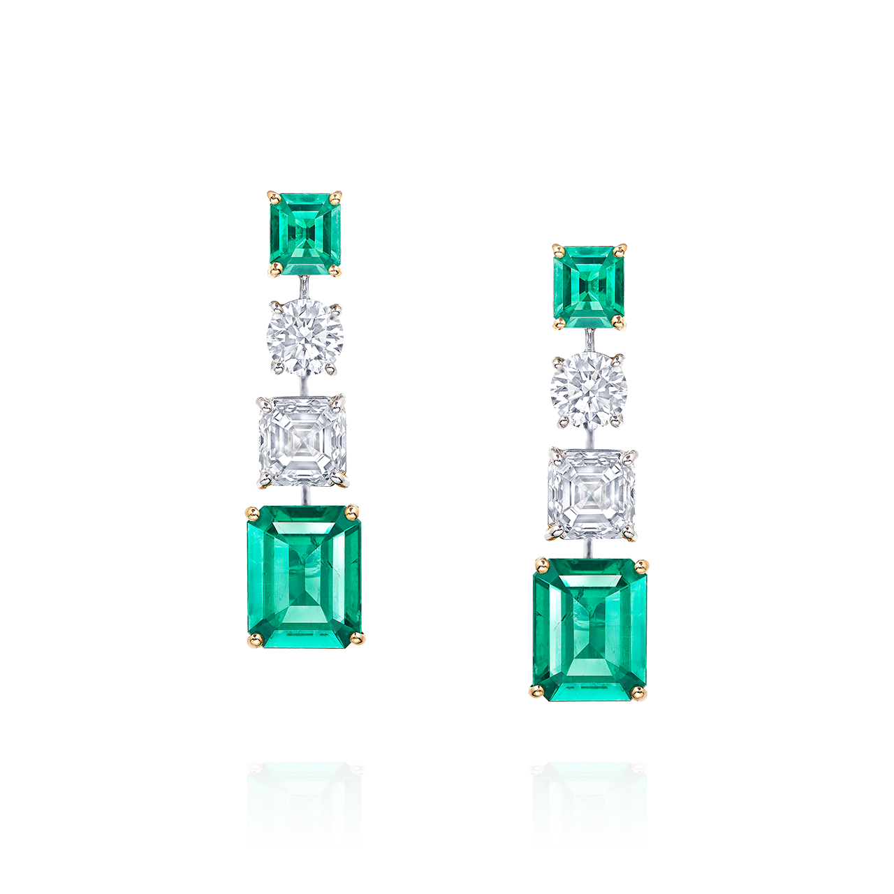 GIA 哥倫比亞天然無浸油艷彩祖母綠鑽石耳環