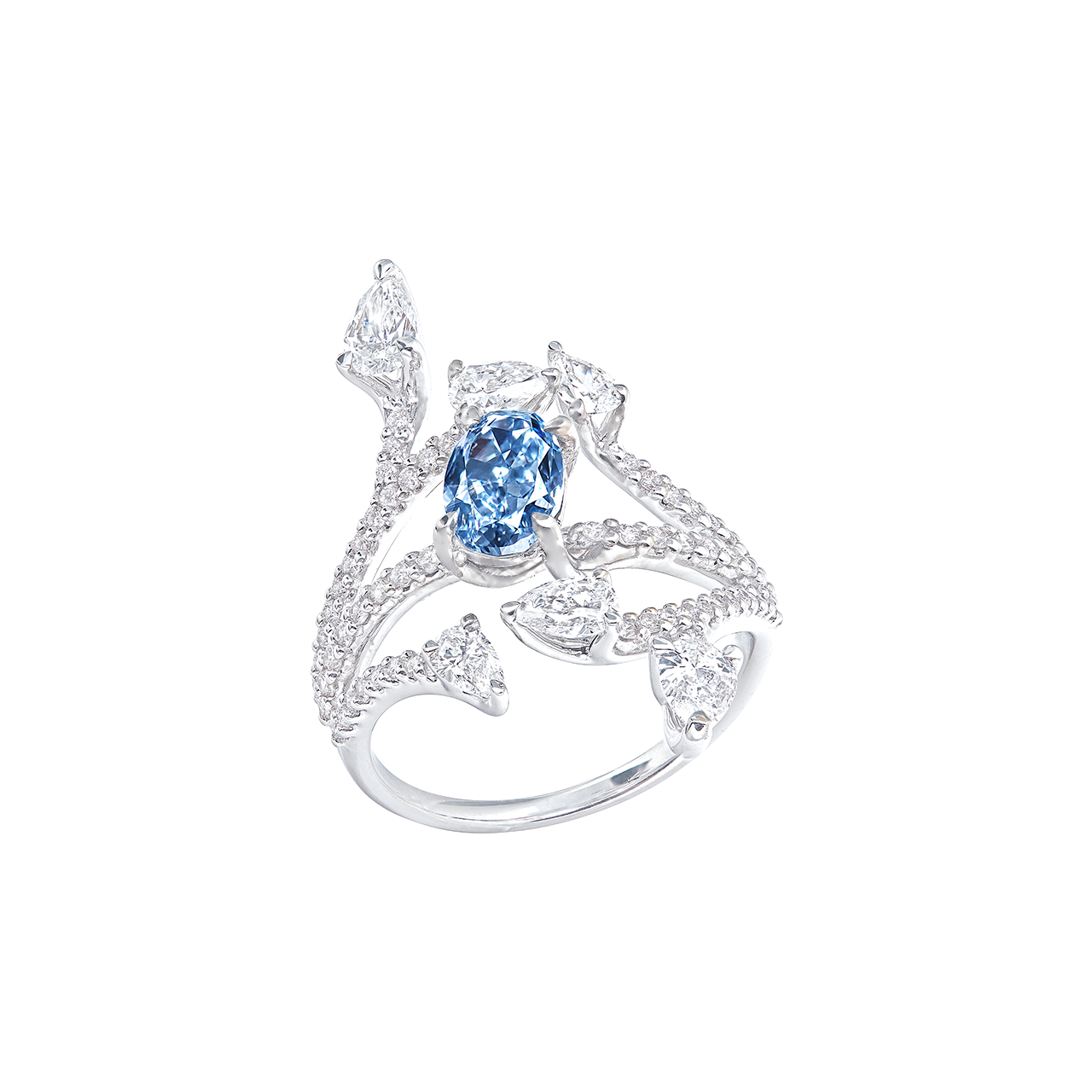 GIA 濃彩藍彩鑽鑽石戒 1.02克拉