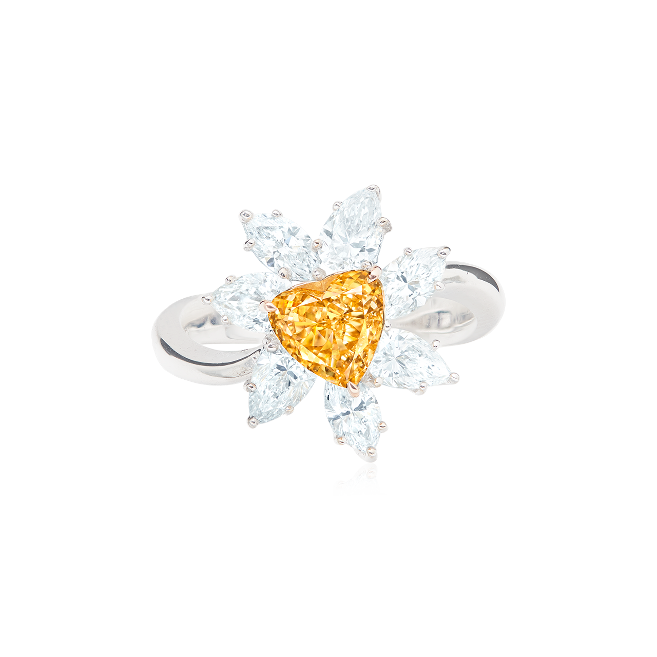 GIA 濃彩黃橘彩鑽鑽石戒 1.01克拉