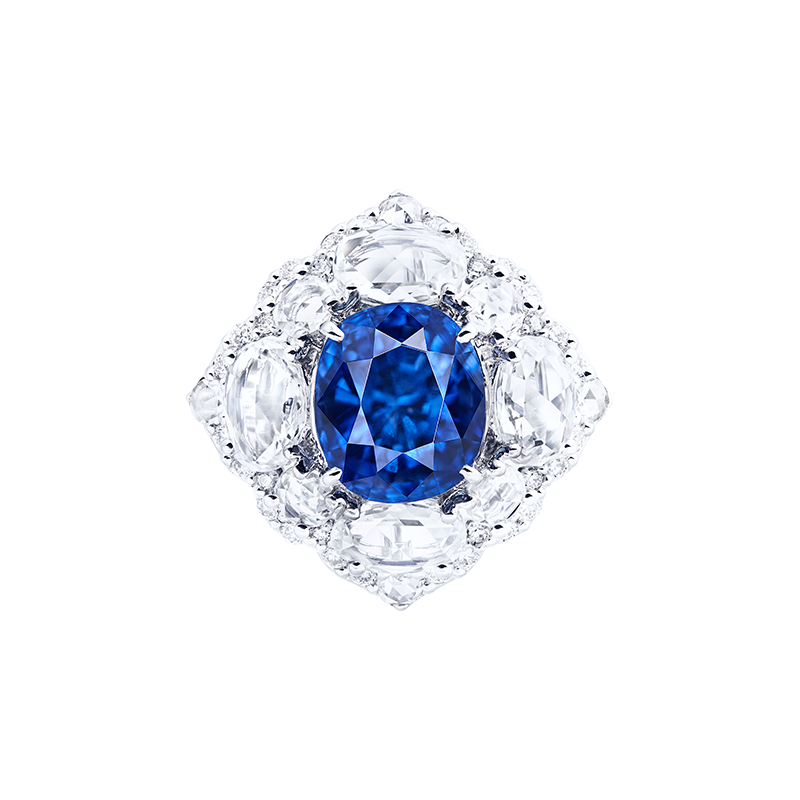 GUB 喀什米爾天然無燒藍寶鑽石戒 4.99克拉