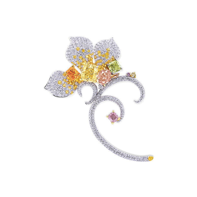 GIA 彩鑽胸針 1.00克拉