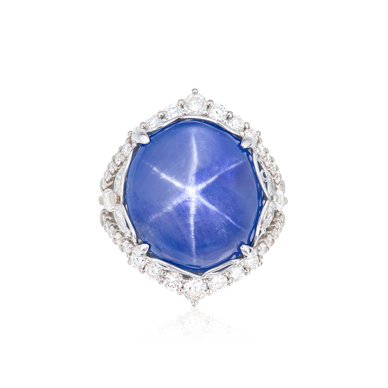 EGL GRS 藍寶星石鑽石戒 33.80克拉