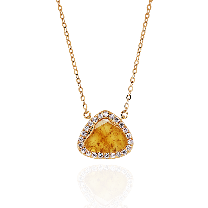GSA 彩色鑽片與鑽石套鍊 1.18克拉