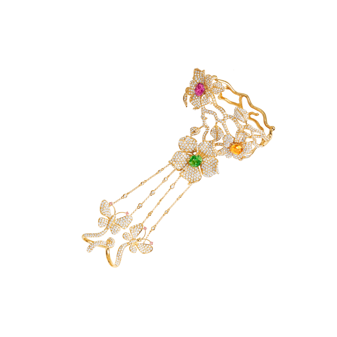 EGL 桐花彩寶鑽石戒鍊手環 69.94公克
