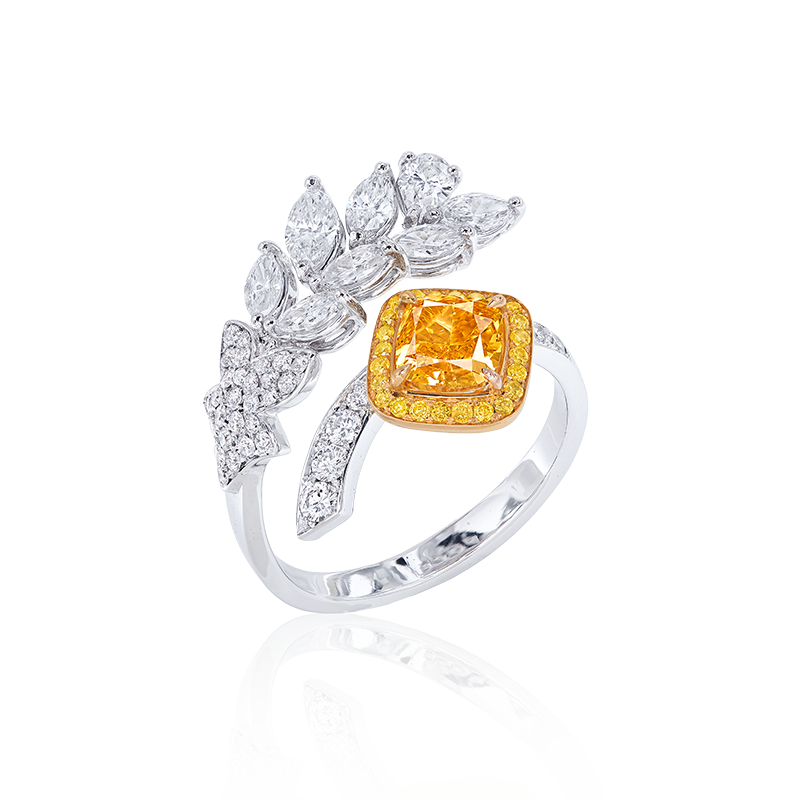 GIA 濃彩橘彩鑽鑽石戒 1.04克拉