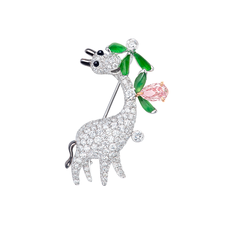 GIA 粉紅彩鑽翡翠'長頸鹿'鑽石胸針 0.64克拉