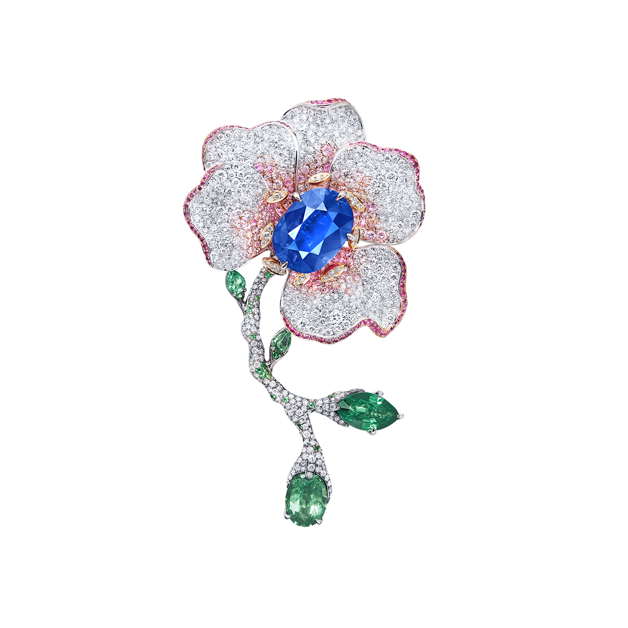 斯里蘭卡皇家藍藍寶鑽石胸針 8.09克拉