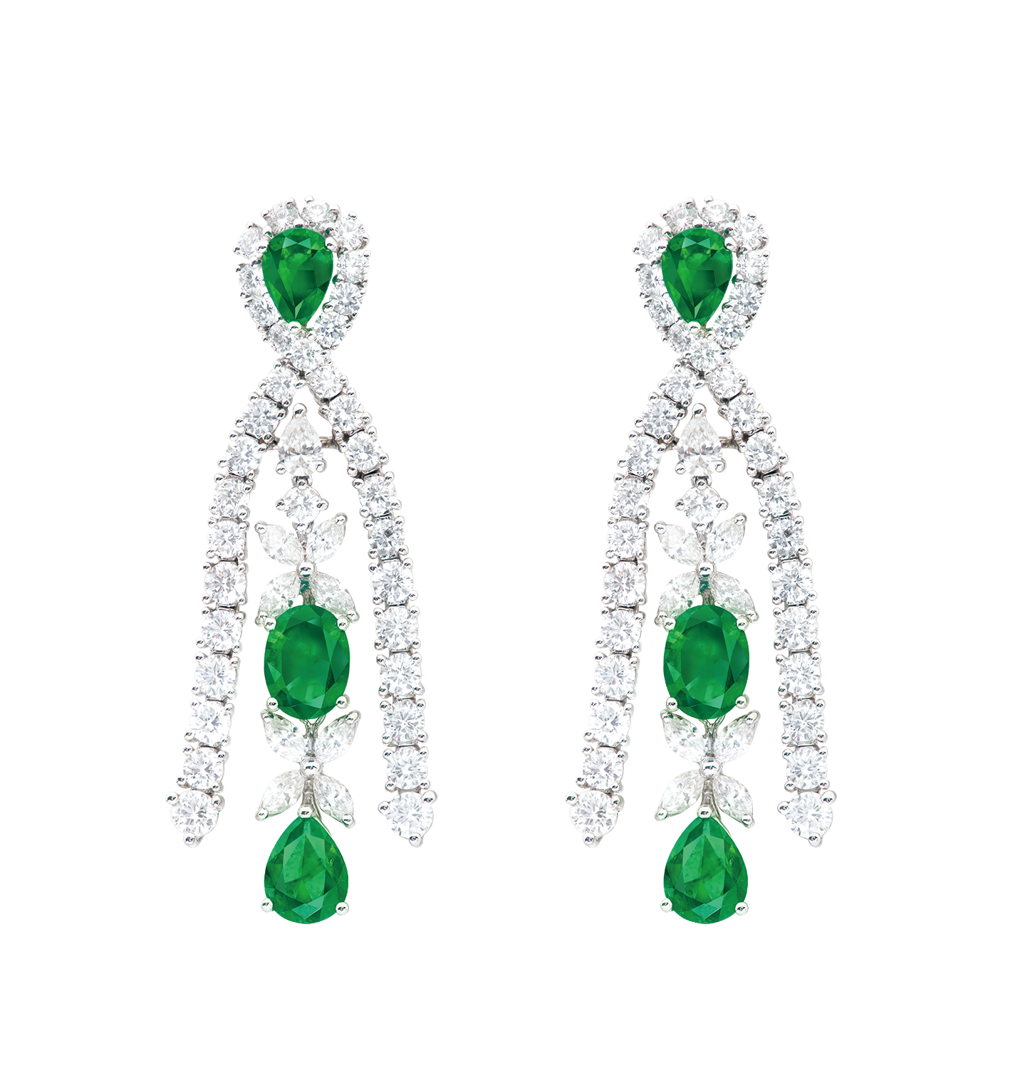 祖母綠鑽石耳環