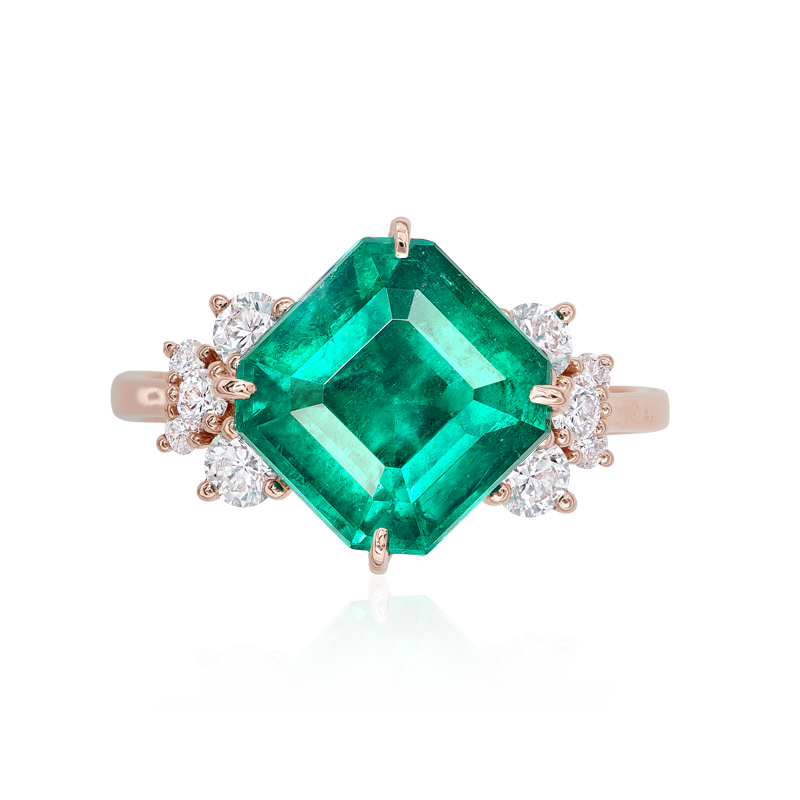 CDC 哥倫比亞艷彩祖母綠鑽石戒 3.83克拉