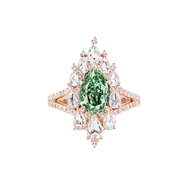 GIA 濃彩綠彩鑽鑽石戒 2.47克拉