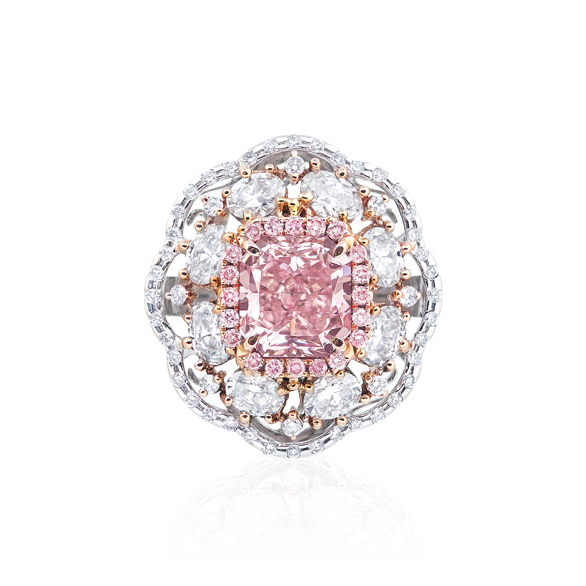 GIA 2.52克拉 無瑕淡彩棕粉鑽戒
