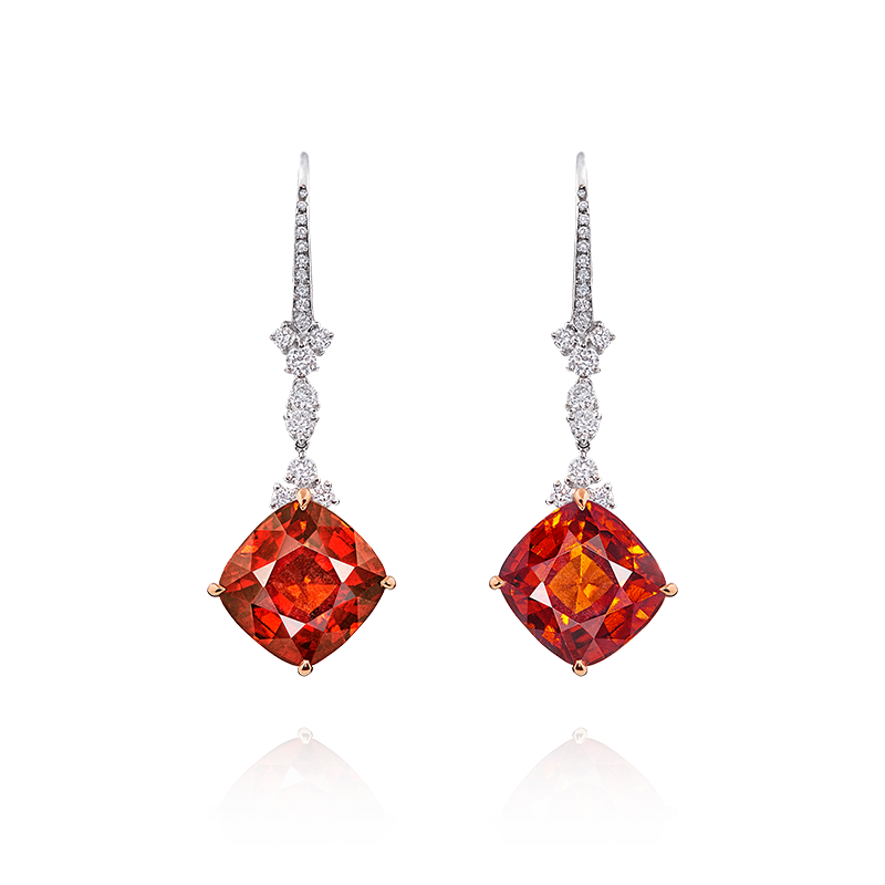 EGL 鈣鋁榴石鑽石耳環 11.18克拉