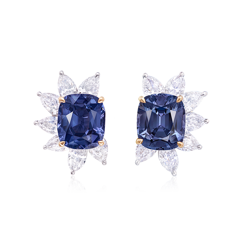 GRS 天然無燒藍尖晶石鑽石耳環 ,IVY 4.42克拉 4.26克拉