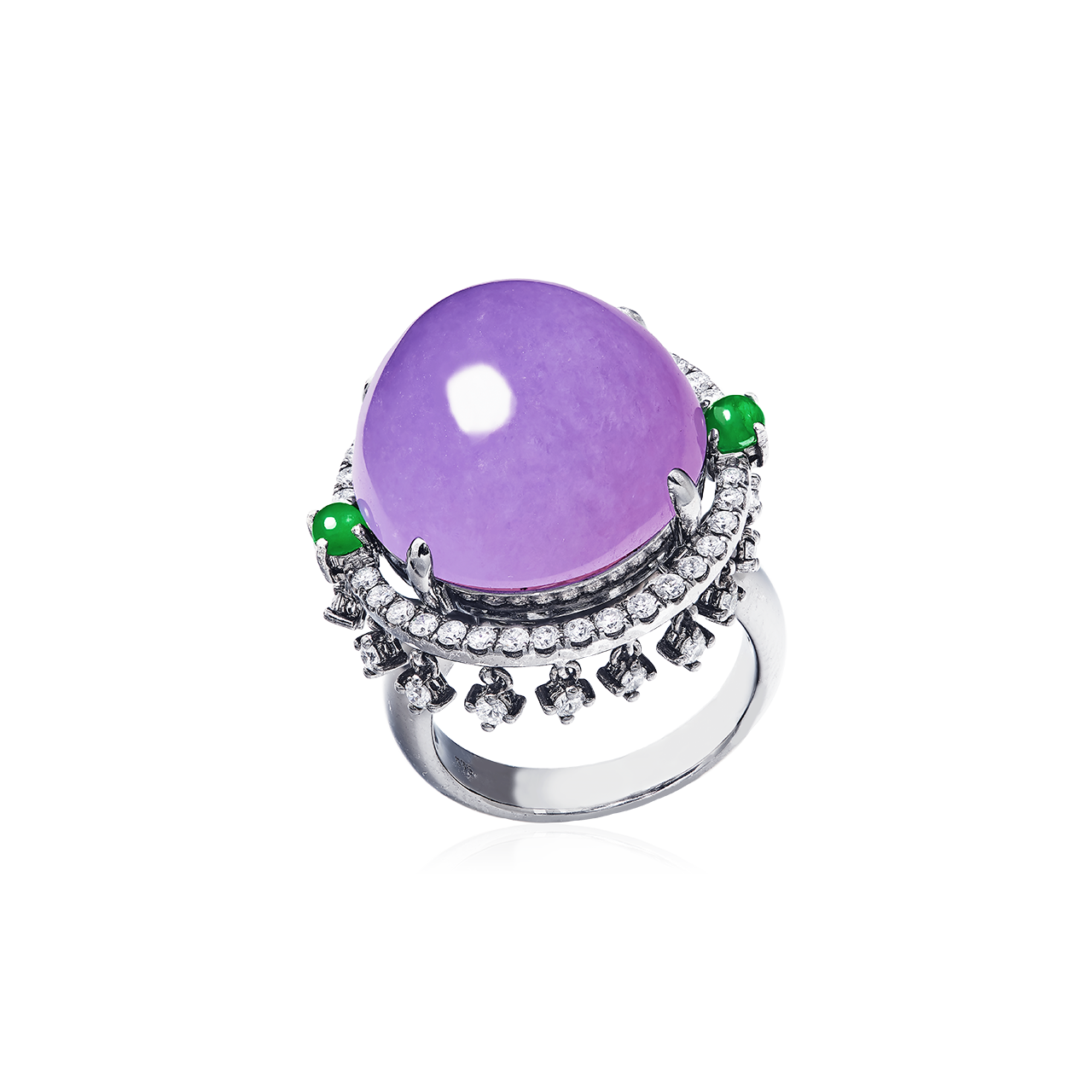 GSA 天然A貨紫羅蘭翡翠鑽石戒 19.07公克