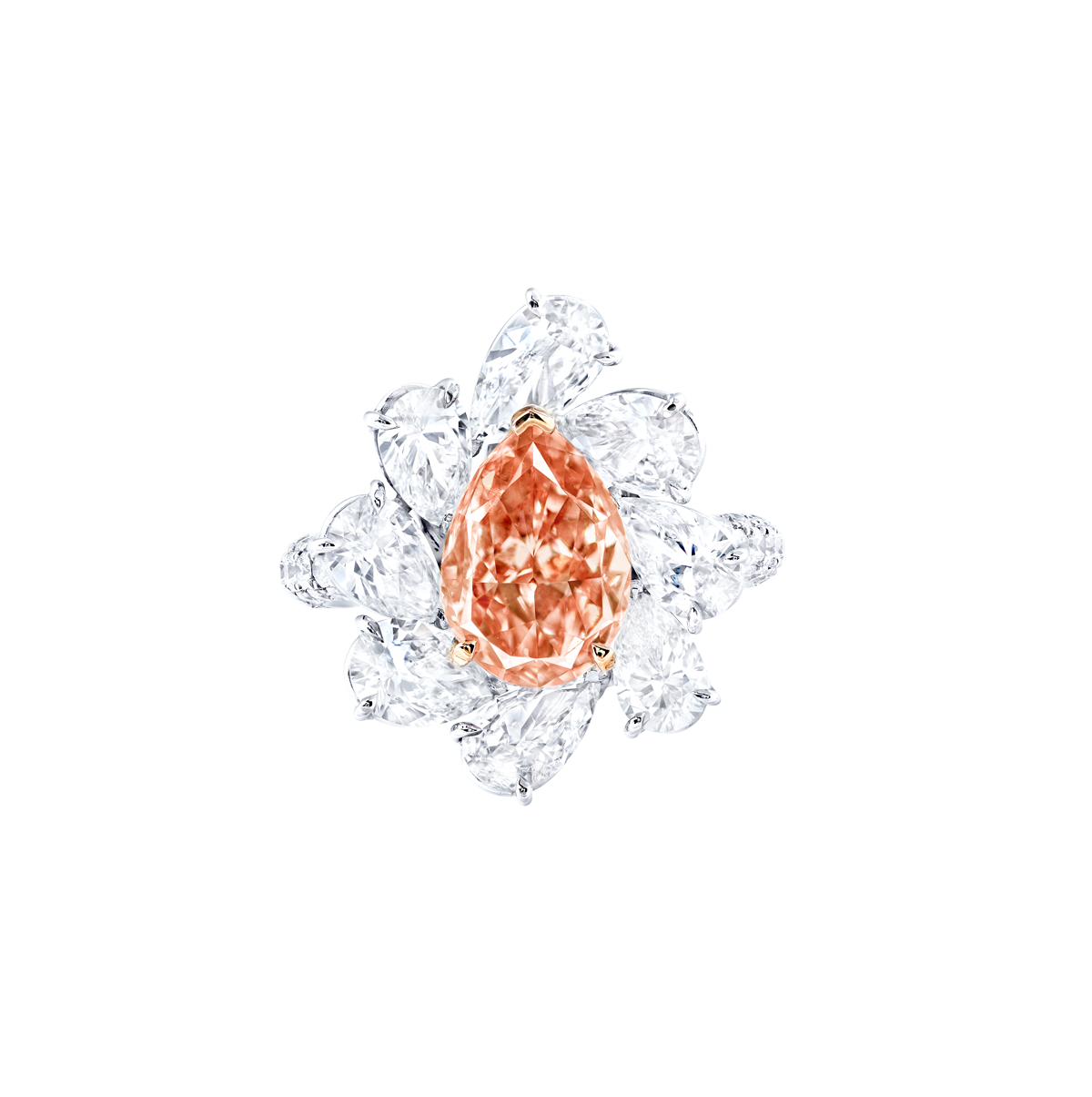 GIA 3.01 克拉 濃彩橘粉鑽鑽戒