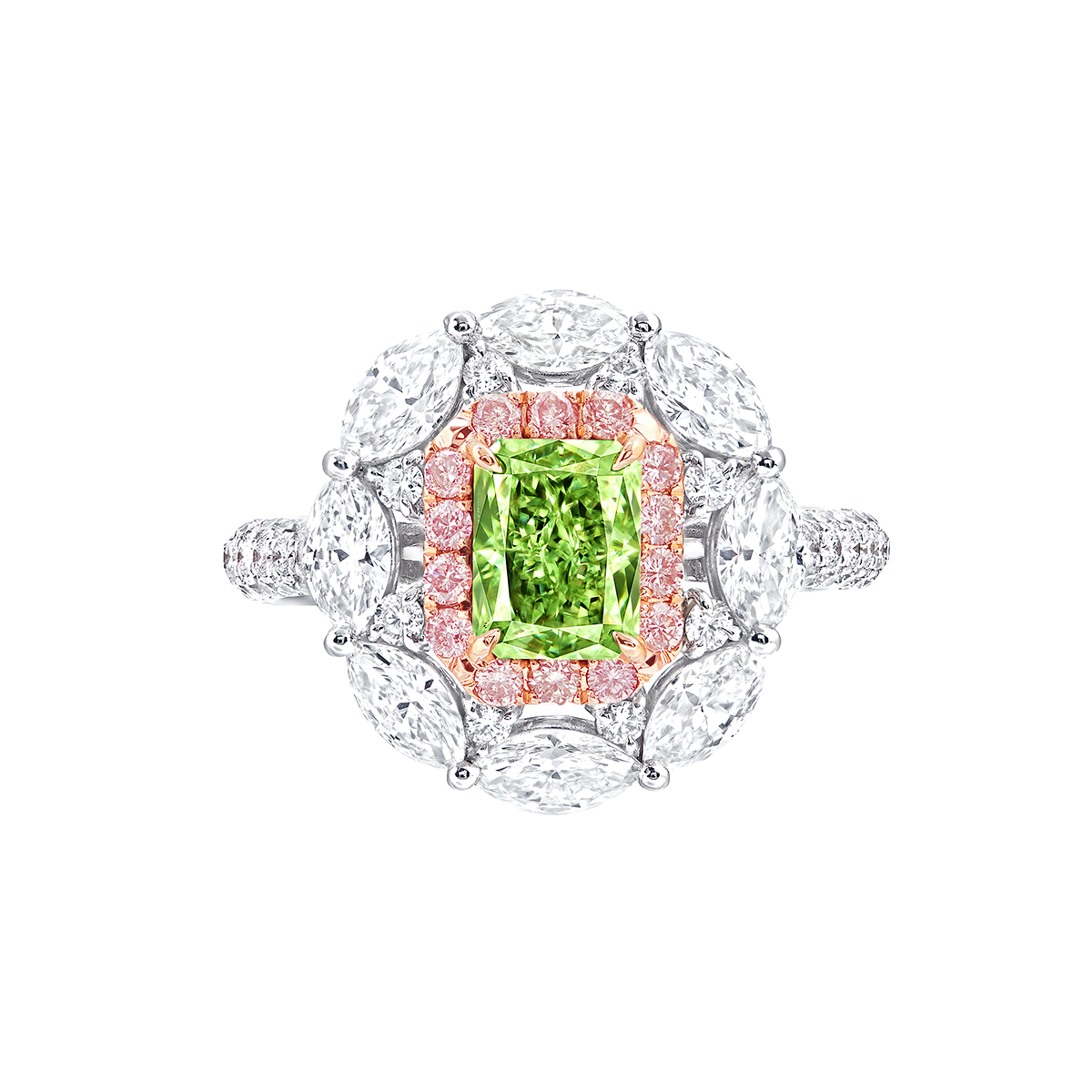 GIA 1.01克拉 濃彩黃綠彩鑽鑽石戒