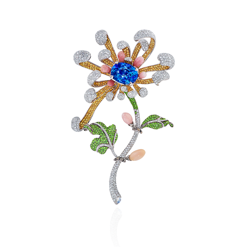GIA 斯里蘭卡天然無燒藍寶彩寶鑽石胸針 12.62克拉