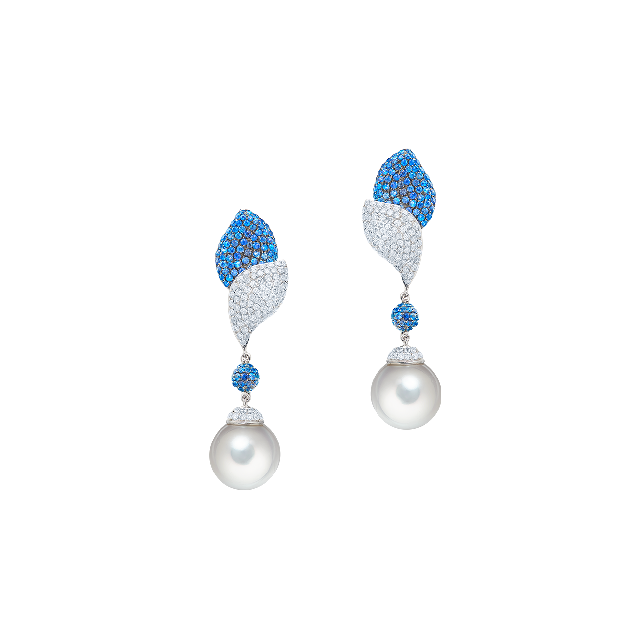EGL 珍珠藍寶鑽石耳環 35.09克拉