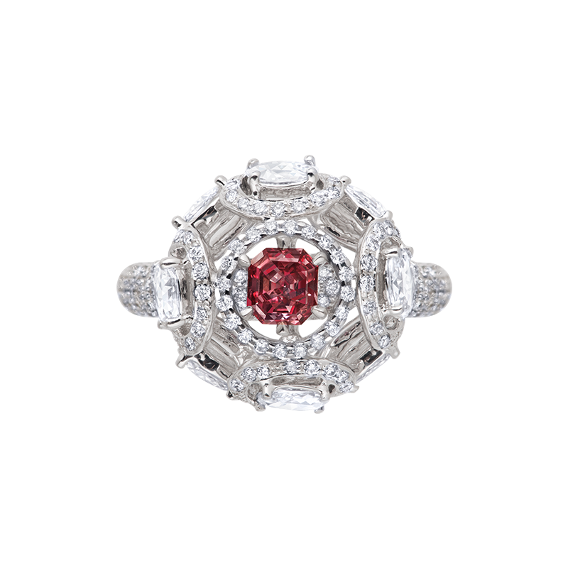 GIA 紅彩鑽鑽石戒 0.35克拉