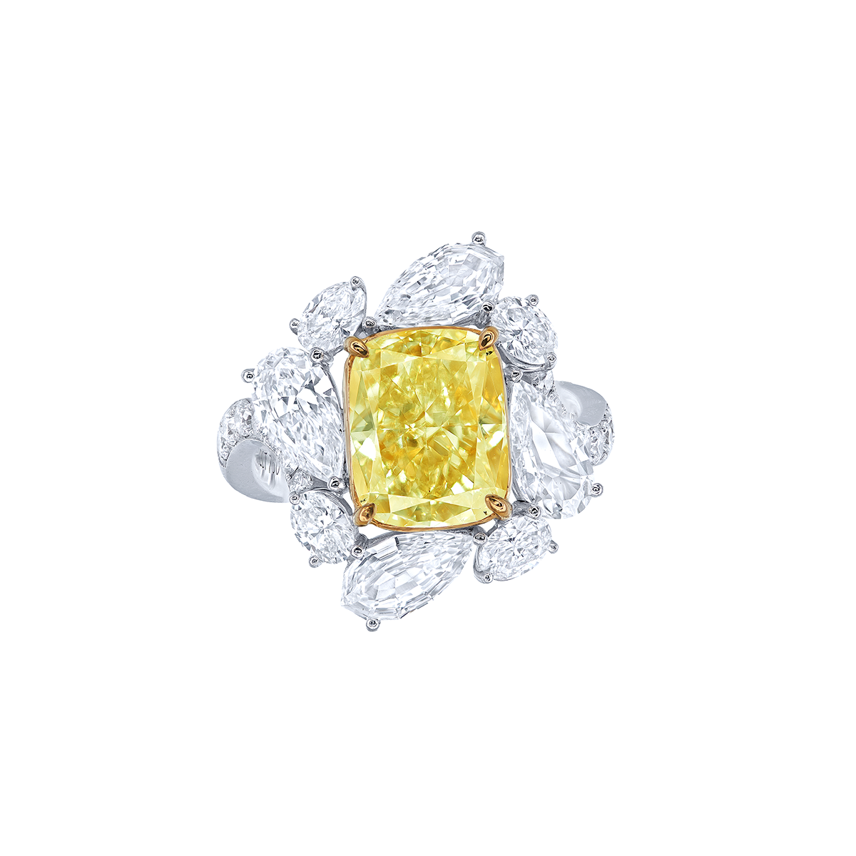 GIA 4.02 克拉 綠黃鑽鑽戒