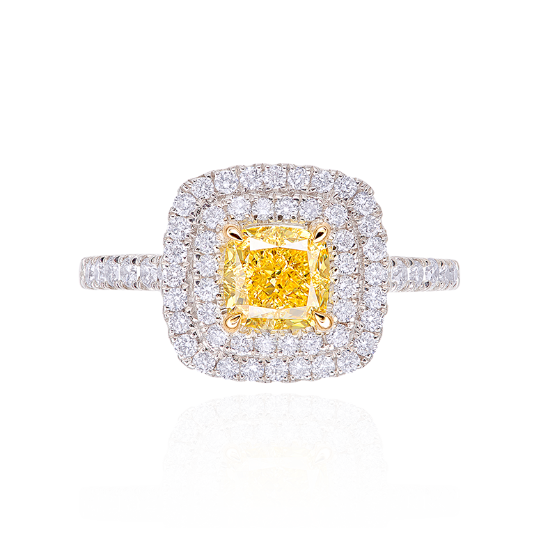 GIA 艷彩黃彩鑽鑽石戒指 1.02克拉
