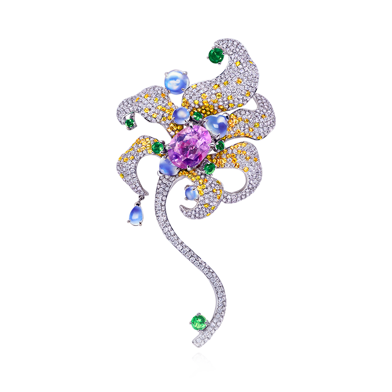 GRS 天然無燒紫剛與彩寶鑽石胸針 5.32克拉